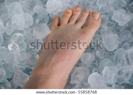 sports injury on ice cube bath concept - stock photo