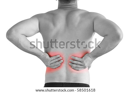 sports injury - young man having backache making massage - stock photo