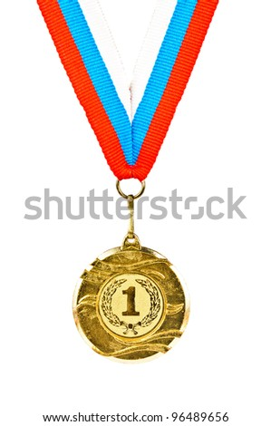 Sports Medal. Photos isolated on white background - stock photo