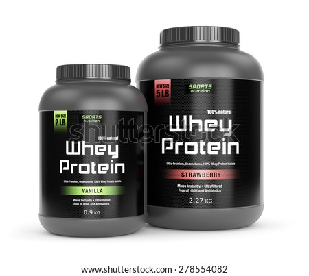 Sports nutrition, bodybuilding supplements: two jars of vanilla and strawberry flavored whey protein isolated on white background.