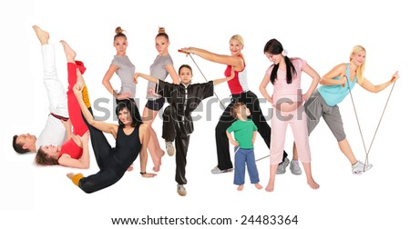 sports people group collage - stock photo