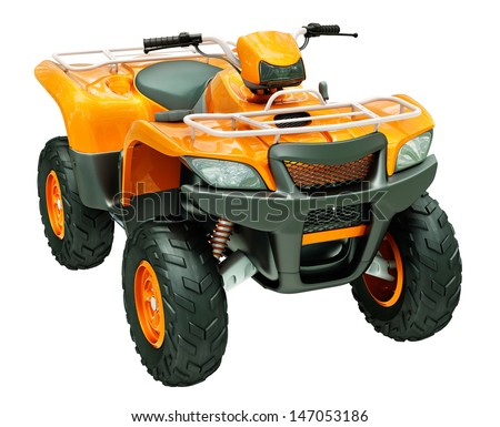 Sports quad bike isolated on a light background - stock photo