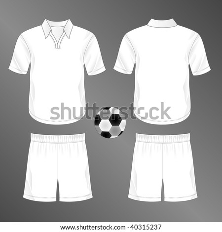 Sports series. Realistic team soccer (European football) uniform: shorts and jersey with rounded v-neck and collar (front and back). Blank template - just add your art. - stock photo