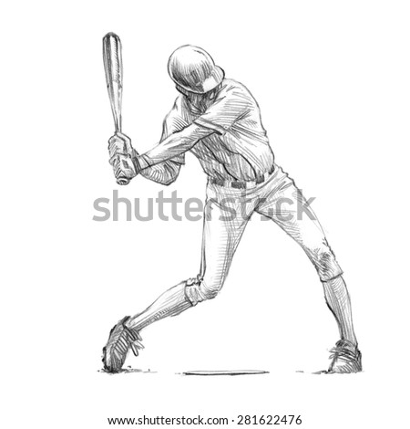 Sports Series  / Sketchy pencil drawing of a baseball player / Batter / High Resolution Scan