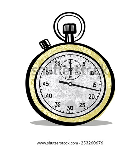 Sports stop watch. A children's sketch. Color image. - stock photo