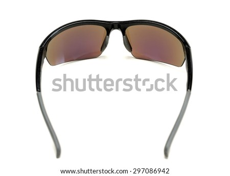 Sports sunglasses, inside view. Isolate on white. - stock photo