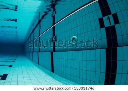 Sports Swimming Pool Underwater. Lanes Underwater, starting with number one. / Swimming Pool Underwater - stock photo