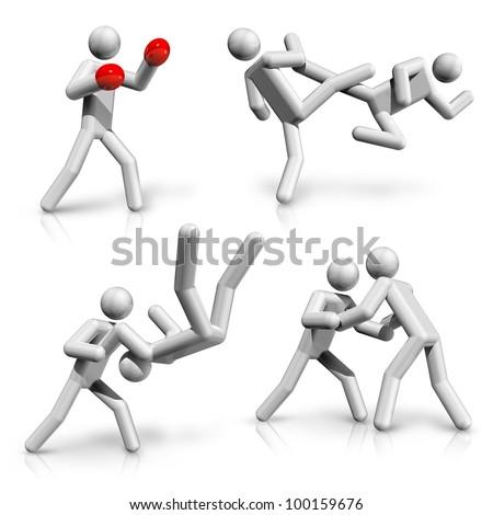 sports symbols icons serie 4 on 9, boxing, taekwondo, karate, judo, wrestling - stock photo