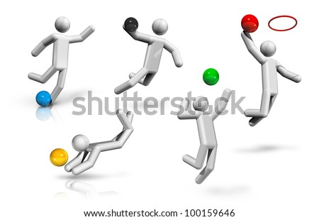 sports symbols icons series 2 on 9, football, soccer, handball, basketball, volleyball, beach volleyball - stock photo