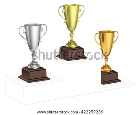 Sports winning and championship and competition success concept - golden, silver and bronze winners trophy cups isolated on imaginary winners podium drawn by  contour lines, 3d illustration, diagonal - stock photo
