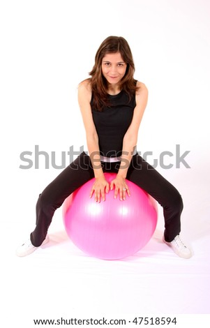 sports woman gym width pink ball