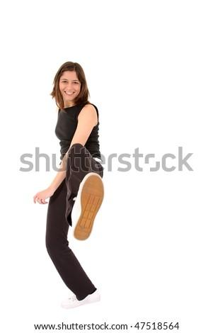 Sports Woman training a low kick - stock photo