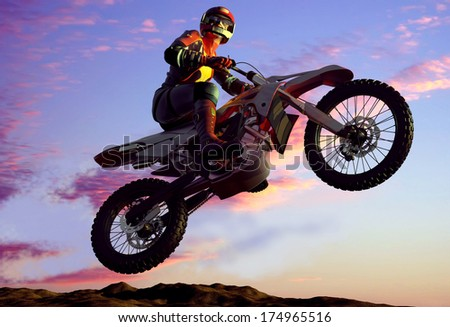 Sportsman on a motorcycle jumping.