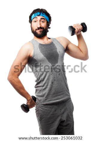 sportsman with dumbbells - stock photo