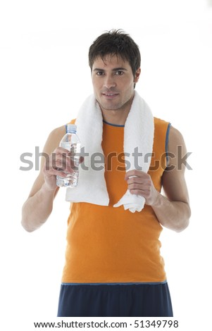 Sportsman with water bottle