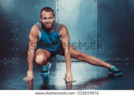 Sportsmen. fit male trainer man concept fitness workout  - stock photo