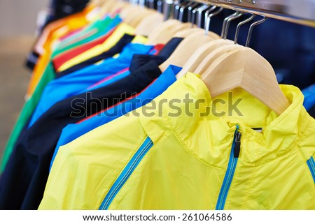 Sportswear on a hanger in the store - stock photo