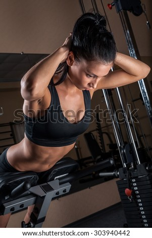 sportswoman engaged in the gym - stock photo
