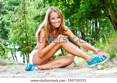 sporty and attractive woman do fitness exercise - stock photo