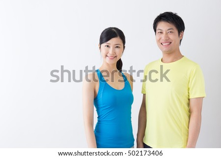 sporty asian people