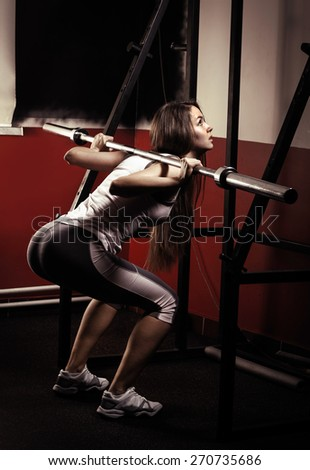 Sporty girl doing exercise with dumbbells in the gym. Attractive fitness woman, trained female body, lifestyle portrait, caucasian model.