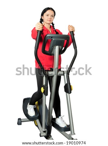 sporty girl exercising on Isolated background - stock photo