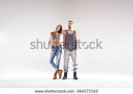 Sporty hip-hop couple - stock photo