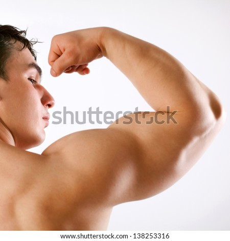 sporty man in the bathroom - stock photo
