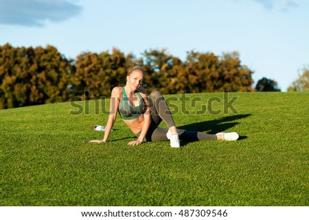 sporty stretching woman park lifestyle outdoor