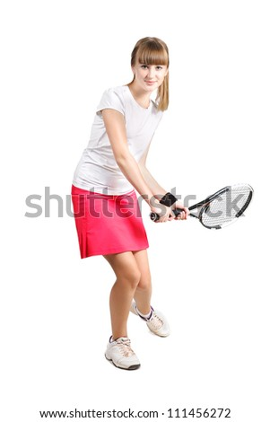 sporty teenage  girl playing tennis  with racket isolated over white background - stock photo