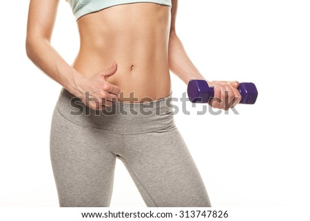 sporty woman do her workout with dumbbells, isolated on white background, thumbs up