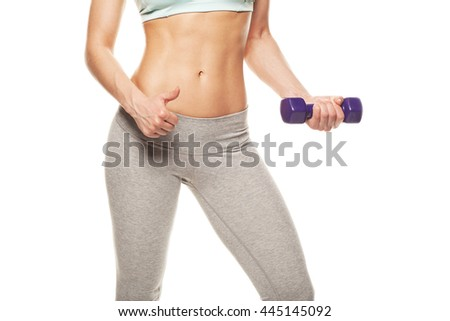 sporty woman do her workout with dumbbells, isolated on white background, thumbs up - stock photo