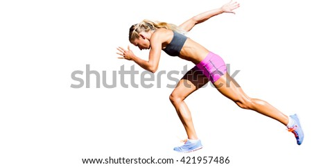 Sporty woman running on a white background - stock photo