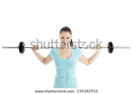 Sporty woman with barbell - stock photo