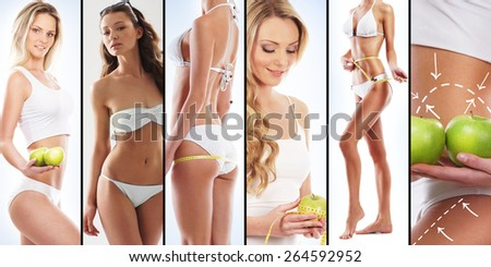 Sporty women in swimsuits. Fitness, sport, healthy eating, vitamins, and nutrition summer concept. - stock photo
