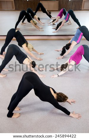 Sporty yoga girls in class exercise stretching in pose Adho Mukha Svanasana (Downward-Facing Dog, downward dog, down dog) - stock photo
