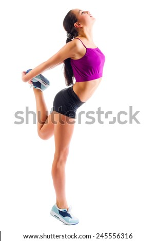 Sporty young girl isolated on white - stock photo