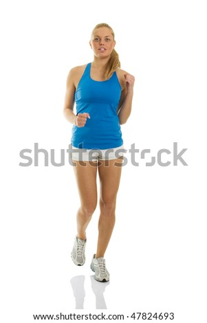 Sporty young women running towards the camera. Slight motion blur added to indicate motion. Isolated on white - stock photo