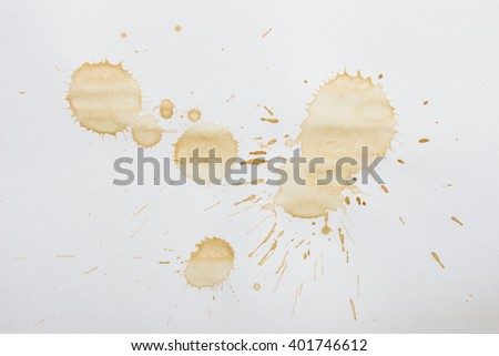 Spot from a cup of coffee on white paper / Coffee Stains Set / coffee paint stains - stock photo