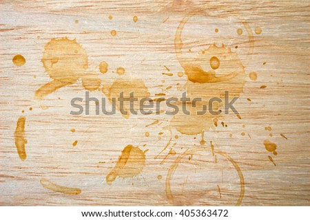 Spot from a cup of coffee on wood table / Coffee Stains Set / coffee paint stains - stock photo