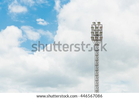 Spot light for stadium with blue sky background