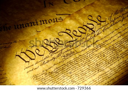 Spot Light on The Declaration of Independence - stock photo