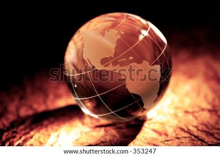 Spot Light ona Glass Globe - stock photo
