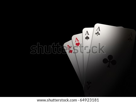 Spot on four aces with black background - rendering - stock photo