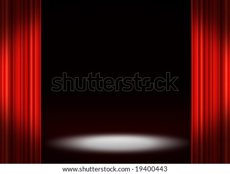 Spotlight and stage curtains - stock photo