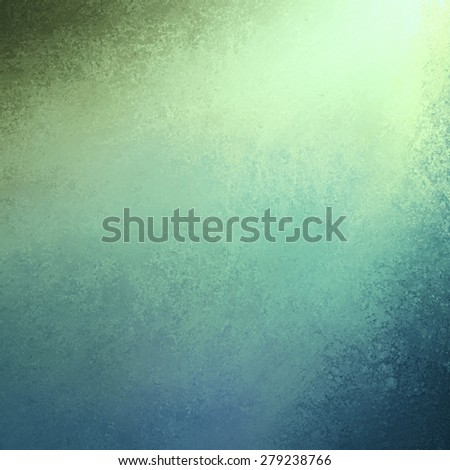 spotlight background in blue green colors with distressed grunge border texture, cool teal blue background design with sunlight streaming in from corner, abstract blue green background design - stock photo