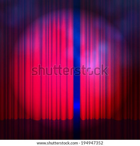 Spotlight on red curtain with smoke & lights. Raster illustration - stock photo
