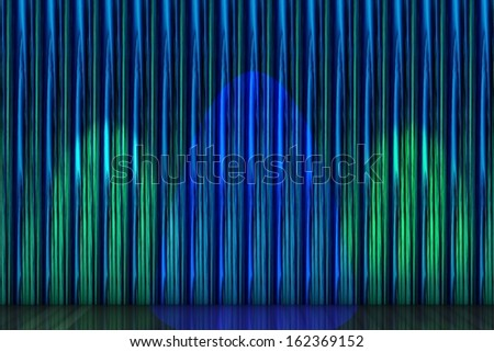Spotlight on stage curtain - stock photo