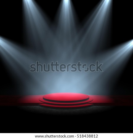 spotlight on stage red carpet A 3d rendering