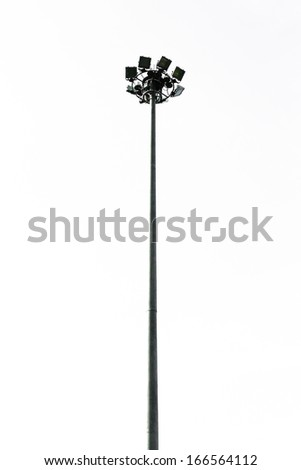 spotlight projection tower of football field isolated white background - stock photo